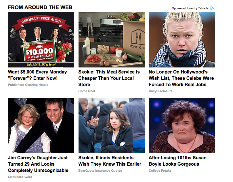 A screenshot of sponsored links below a story from the Chicago Tribune's website