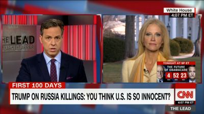 Jake Tapper questions Trump adviser Kellyanne Conway on CNN's The Lead on Tuesday, Feb. 7, 2017 — just days after the network refused to let her appear as a guest on Tapper's Sunday talk show. (Screen grab)