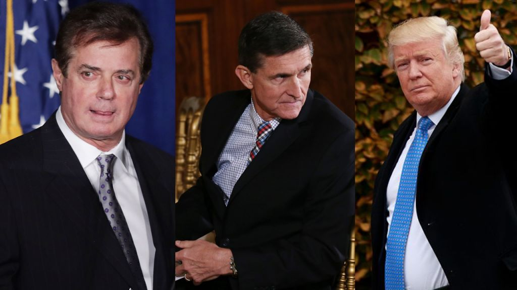 Composite: Former Trump campaign manager Paul Manafort (Photo by Chip Somodevilla/Getty Images); National security adviser Michael Flynn (Photo by Mario Tama/Getty Images); President-elect Donald Trump (Photo by Drew Angerer/Getty Images)