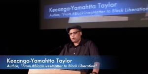 Keeanga-Yamahtta Taylor speaking at the Anti-Inauguration event in Washington, DC, on Jan. 20, 2017 (