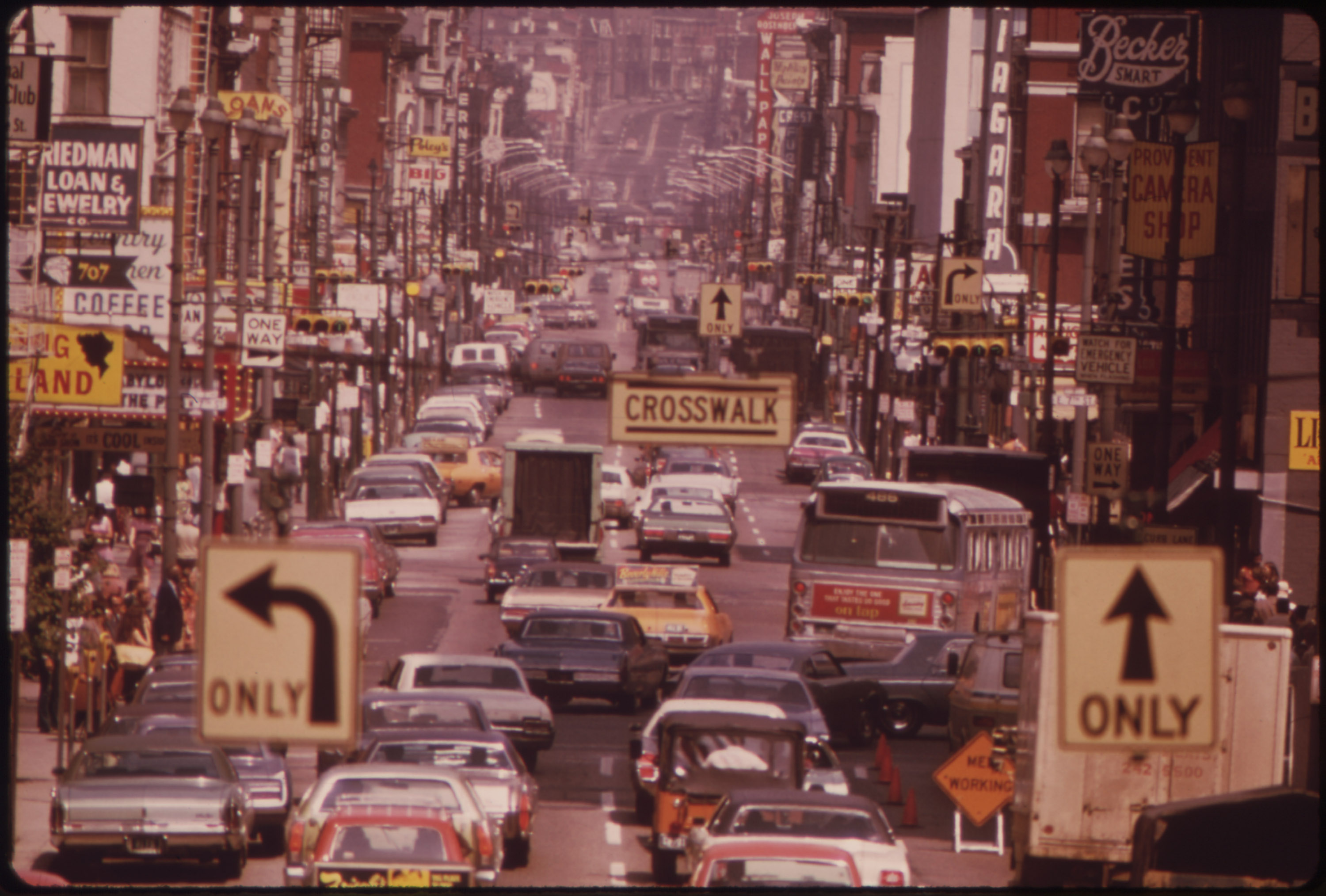 Traffic in Cincinnati, August 1973. Lead was banned from paint in the 1970s but remained in gasoline until the '90s. (Photo courtesy of the National Archives)