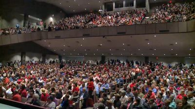 Citizens packed in at the town hall meeting of Sen Tom Cotton (R-AR) on Feb. 22. (Photo shared by Greg Leding, a Democratic member of the Arkansas House of Representatives)