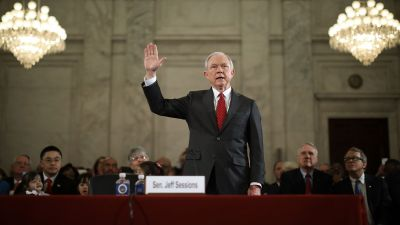 Sen. Jeff Sessions (R-AL) swears to tell the truth before the Senate Judiciary Committee during his confirmation hearing to be the attorney general on Jan. 10, 2017. (Photo by Chip Somodevilla/Getty Images)