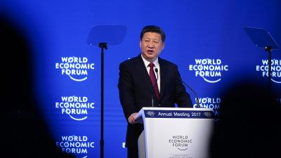 Xi Jinping, China's president, speaks during the opening plenary session of the World Economic Forum (WEF) annual meeting in Davos, Switzerland, on Tuesday, Jan. 17, 2017. (Photo by Jason Alden/Bloomberg via Getty Images)