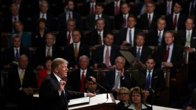 President Donald Trump addresses a joint session of the US Congress on February 28, 2017 in the House chamber of the U.S. Capitol in Washington, DC. (Photo by Win McNamee/Getty Images)