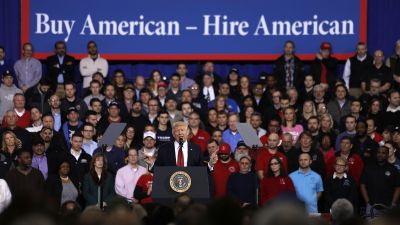 President Donald Trump speaks to auto workers at the American Center for Mobility March 15, 2017 in Ypsilanti, Michigan. Trump discussed his priorities of improving conditions to bolster the manufacturing industry and reduce the outsourcing of American jobs. (Photo by Bill Pugliano/Getty Images)