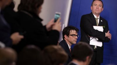 Office of Management and Budget Director Mick Mulvaney arrives for a briefing in the Brady Press Briefing Room at the White House March 16, 2017 in Washington, DC. (Photo by Chip Somodevilla/Getty Images)