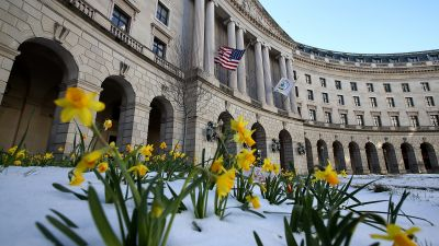 Flowers bloom outside the Environmental Protection Agency (EPA) headquarters on March 16, 2017. (Photo by Justin Sullivan/Getty Images)