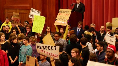 Middlebury College students protest speaker Charles Murray. (Photo by Todd Balfour)