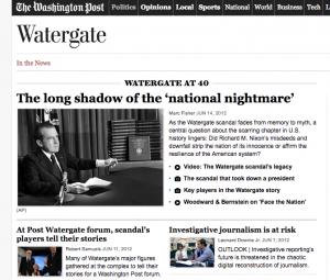 The Washington Post's Watergate anniversary coverage