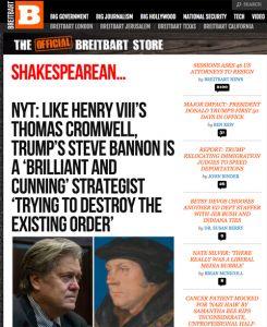 Screenshot of a recent Breitbart homepage.