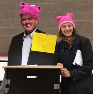 A photo of a cardboard cutout of Sen. Cory Gardner (R-CO) at a town hall meeting in Denver that he did not attend. (Photo by Tracy Harmon on twitter.)