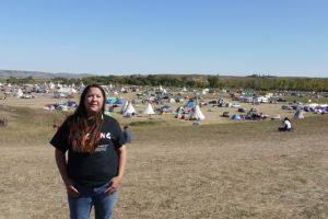 Kandi Mossett at the Standing Rock camp in September 2016. (Photo by Sarah Jaffe)