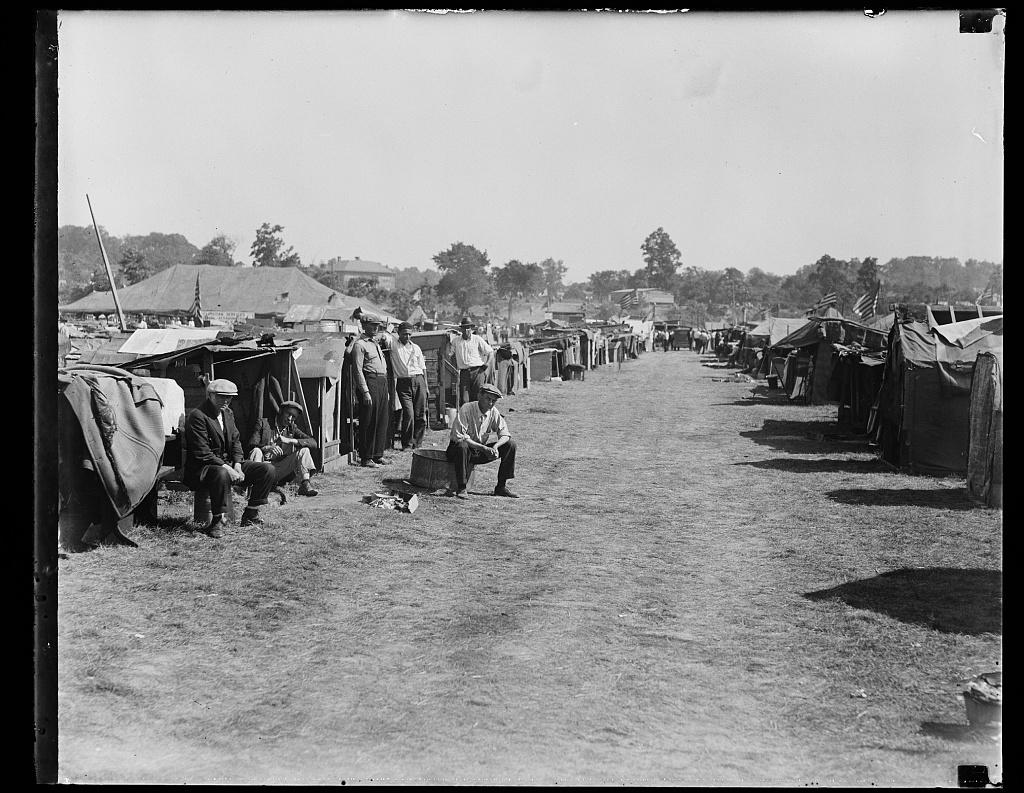 Bonus Army Camp, Anacostia, Washington, DC, 1932. (Library of Congress)