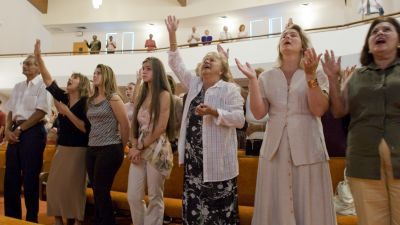 Parishioners at Sunday services at the Bethel Assembly of God church in Lake Worth, Florida. (Photo by Robert Wallis/Corbis via Getty Images)