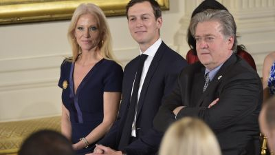 Based on the assets revealed in recent financial disclosure reports, presidential advisers Kellyanne Conway, Jared Kushner and Steve Bannon are key players in the wealthiest administration in American history, making decisions that greatly impact less well-off Americans. (Photo by Mandel Ngan/AFP/Getty Images)