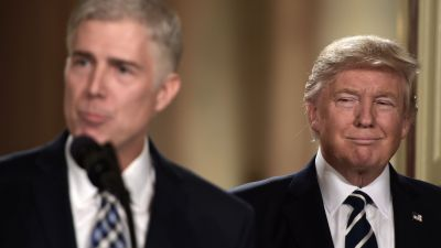 Judge Neil Gorsuch and President Donald Trump at the White House on Jan. 31, 2017. If Gorsuch is confirmed, and the right case comes before the court, Chevron could be seriously endangered. (Photo by Brendan Smialowski/AFP/Getty Images)