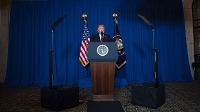 President Donald Trump delivers a statement on Syria from the Mar-a-Lago estate in West Palm Beach, Florida, on April 6, 2017. Trump ordered a massive military strike against Syria in retaliation for a chemical weapons attack they blame on President Bashar al-Assad. (Photo by Jim Watson/AFP/Getty Images)
