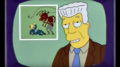 """Newsman Kent Brockman welcomes his new insect overlords in the """"Deep Space Homer"""" episode of The Simpsons. (Screen shot)"""