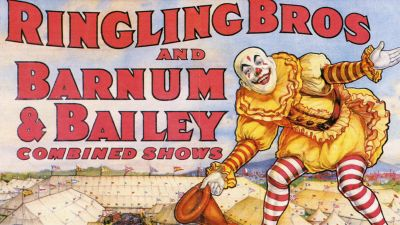 An early 20th century poster advertising Ringling Brothers and Barnum Bailey Combined Show circus. (Photo by Transcendental Graphics/Getty Images)