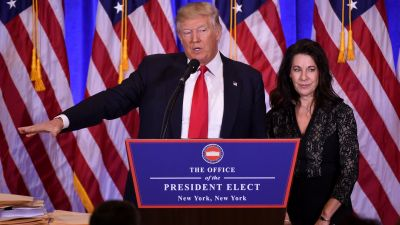 President-elect Donald Trump and his attorney Sheri Dillon at a press conference in New York on Jan. 11, 2017, where they discussed how Trump would handle his business affairs while in office. (Photo by Don Emmert/AFP/Getty Images)
