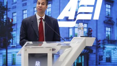 Federal Communication Commission Chairman Ajit Pai delivers remarks at The American Enterprise Institute for Public Policy Research May 5, 2017 in Washington, DC. (Photo by Chip Somodevilla/Getty Images)