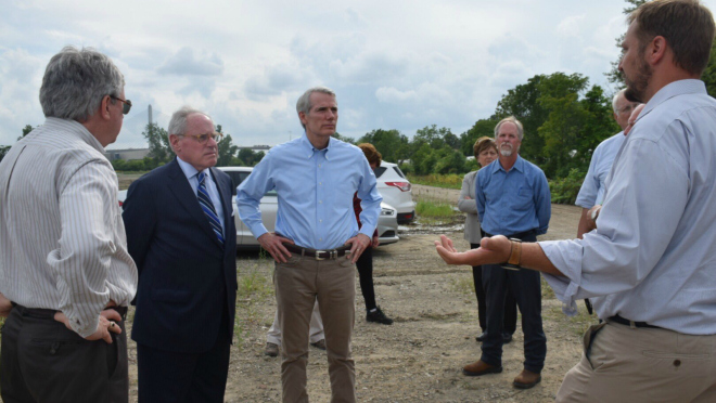 Sen. Rob Portman (R-OH) (center) meets with officials from the Great Lakes Dredged Material Center for Innovation last year. (Photo courtesy of Sen. Rob Portman)