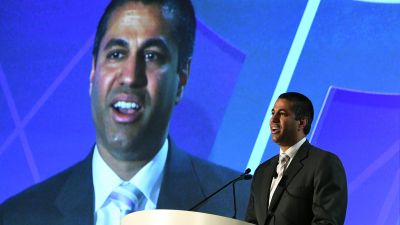 Federal Communications Commission Chairman Ajit Pai speaks during the 2017 NAB Show in Las Vegas on April 25, 2017. (Photo by Ethan Miller/Getty Images)