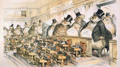 Reformers like the cartoonist Joseph Keppler depicted the Senate as controlled by the giant moneybags, who represented the nation's financial trusts and monopolies. (Image courtesy of Wikicommons)