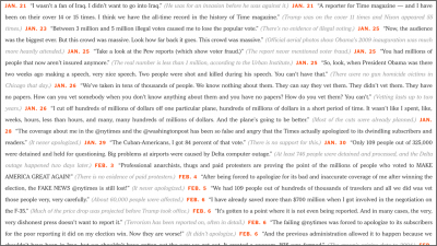 """Screenshot of the New York Times op-ed piece entitled """"Trump's Lies"""" that lists all of the lies President Donald Trump has told while in office."""