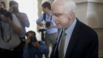 Sen. John McCain (R-AZ) exits the US Capitol in Washington, DC after voting on the Senate floor to open debate on the Obamacare repeal on July 25, 2017. (Photo by Andrew Harrer/Bloomberg via Getty Images)