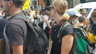 """Counterprotesters gathered in the streets of downtown Charlottesville on Saturday, Aug. 12, 2017 to stand against the """"Unite the Right"""" rally, which was later cancelled by police. (Photo by Adele Stan)"""