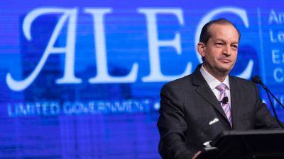 US Secretary of Labor Alexander Acosta delivers remarks at the 44th annual American Legislative Exchange Council (ALEC) meeting in Denver on July 21, 2017. (Photo by US Department of Labor   Flickr CC 2.0)