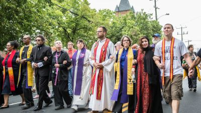 Clergy protesting at at the march in Charlottesville, Virginia on Aug. 12, 2017. (Photo by Jill Harms)