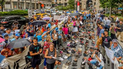 Make the Road New York protest in front of JPMorgan Chase headquarters in New York on Aug. 2, 2017. (Photo by Make the Road New York)
