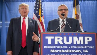 Sheriff Joe Arpaio of Maricopa County, Arizona endorses then-Republican presidential candidate Donald Trump prior to a rally on Jan. 26, 2016 in Marshalltown, Iowa. (Photo by Scott Olson/Getty Images)