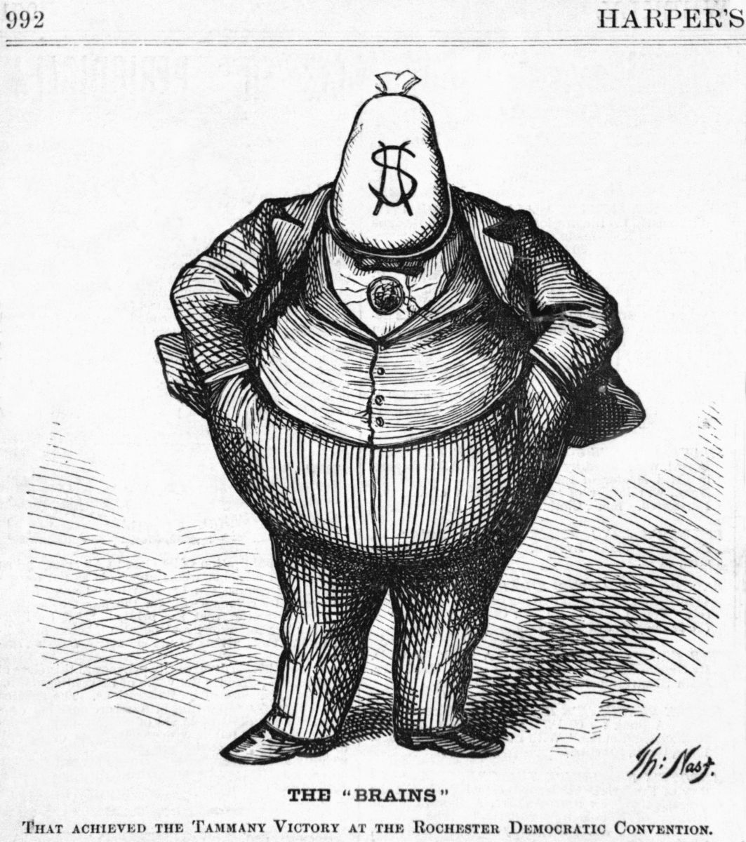 """The """"Brains"""" that achieved the Tammany victory at the Rochester Democratic Convention, 1871. (Woodcut by Thomas Nast)"""