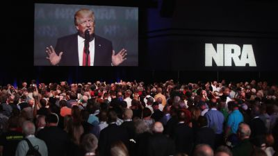 President Donald Trump speaks at the National Rifle Association Institute for Legislative Action's annual Leadership Forum on April 28, 2017. Trump is the first president to address the meeting since Ronald Reagan. (Photo by Scott Olson/Getty Images)