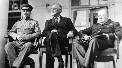 Josef Stalin, Franklin D. Roosevelt and Winston Churchill in Tehran in 1943. (FDR Library)