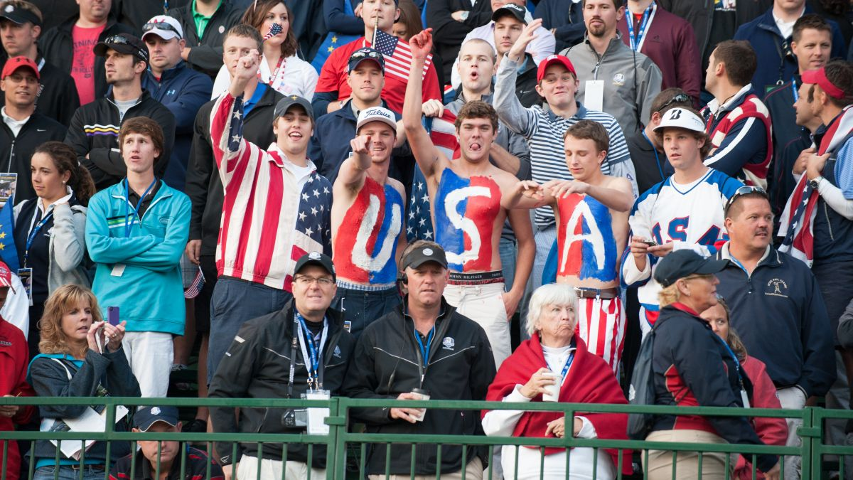 USA fans cheer at the first hole during the Morning Foursome Matches for the 39th Ryder Cup at Medinah Country Club on Sept. 29, 2012 in Medinah, Illinois. (Photo by Montana Pritchard/PGA of America via Getty Images)