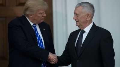 President-elect Donald Trump shakes hands with retired US Marine Corps Gen. James Mattis after their meeting at Trump International Golf Club on Nov. 19, 2016 in Bedminster Township, New Jersey. (Photo by Drew Angerer/Getty Images)