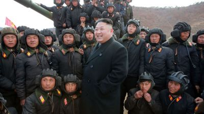 North Korean leader Kim Jong Un inspecting the Korean People's Army Tank Crews' Competition-2017 at an undisclosed location. (Photo by STR/AFP/Getty Images)
