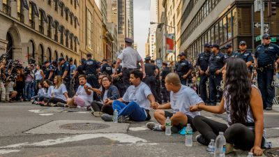 Nine undocumented youths were arrested at Trump Tower in a civil disobedience demonstration in response to Attorney General Jeff Sessions announcing the end of the Deferred Action for Childhood Arrivals (DACA) program on Sept. 5, 2017. Over 50 people engaging in nonviolent civil disobedience were arrested throughout New York City in response to Trump's decision to repeal DACA. (Photo by Erik McGregor/Pacific Press/LightRocket via Getty Images)