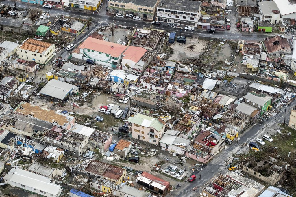 An aerial photography taken and released by the Dutch Department of Defense on September 6, 2017 shows the damage of Hurricane Irma in Philipsburg, on the Dutch Caribbean island of Saint Maarten.(Photo: Gerben Van Es/AFP/Getty Images)