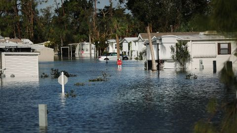 A submerged mobile home community stands in Fort Myers on Sept. 12, 2017, two days after Hurricane Irma swept through the area. (Photo by Spencer Platt/Getty Images)