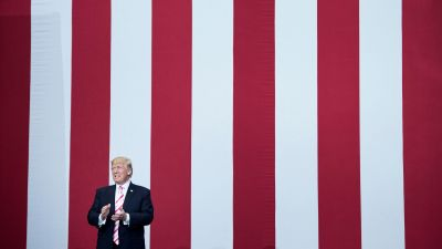 President Donald Trump arrives at a rally for Luther Strange (R-AL) at the Von Braun Civic Center in Huntsville, Alabama on Sept. 22, 2017. (Photo by Brendan Smialowski/AFP/Getty Images)