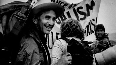 "Daniel Ellsberg prepares to join the sit-in group at the Rocky Flats protests in 1978. Ellsberg referred to the nuclear weapons production program there as ""a movable holocaust."" (Photo By Lyn Alweis/The Denver Post via Getty Images)"