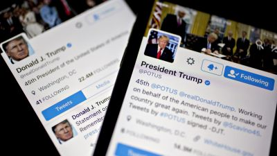 The Twitter Inc. accounts of President Donald Trump, @POTUS and @realDonaldTrump. (Photo by Andrew Harrer/Bloomberg via Getty Images)