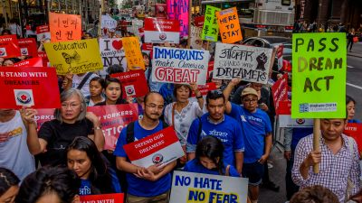The Asian American Federation partnered with leading immigrant advocacy groups in New York to hold the Asian-American Dreamer rally outside Trump Tower in Manhattan on Oct. 5, 2017. (Photo by Erik McGregor/Pacific Press/LightRocket via Getty Images)