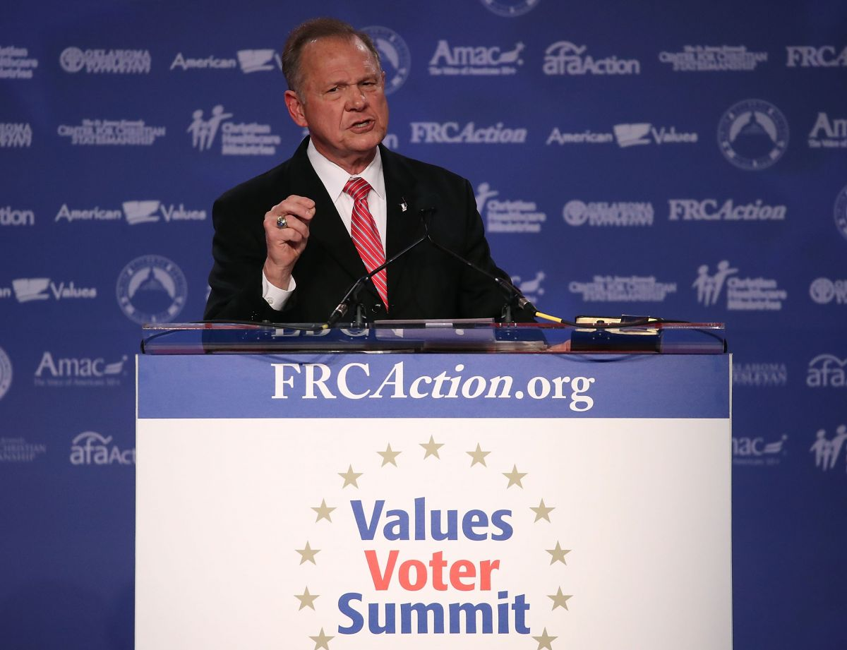 Roy Moore, GOP Senate candidate and former chief justice on the Alabama Supreme Court speaks during the annual Family Research Council's Values Voter Summit on Oct. 13, 2017 in Washington, DC. (Photo by Mark Wilson/Getty Images)